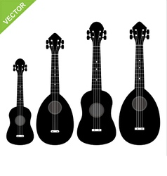 ukulele silhouettes vector image vector image