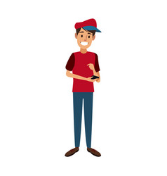 young happy man holding smartphone vector image vector image