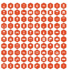 100 home icons hexagon orange vector
