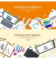 Digital drawing graphic design workplace vector
