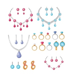 Beautiful jewelry accessories icons set vector