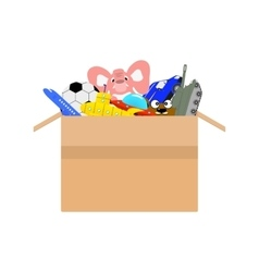 Cardboard box full of different kids toys vector