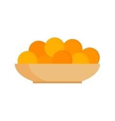 Fresh tangerines oranges on plate vector