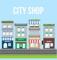 City street with shop pizza cafe and bakery vector