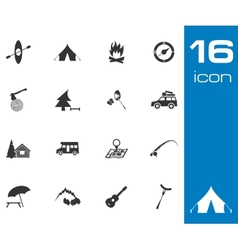 Black camping icons set on white background vector