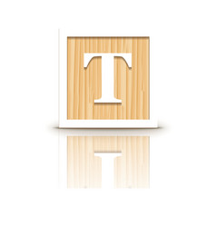 Letter t wooden alphabet block vector