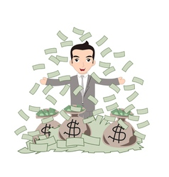Successful business man under money rain vector