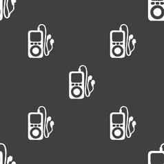 Mp3 player headphones music icon sign seamless vector