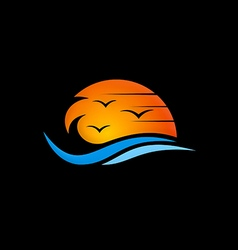 Beach sunset abstract logo vector