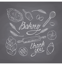 Bakery sketched objects hand drawn groceries vector
