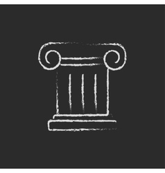 Ancient column icon drawn in chalk vector