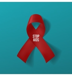 Realistic curved red ribbon with stop aids text vector