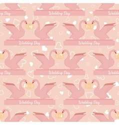 Wedding seamless pattern with pink swans hold gold vector