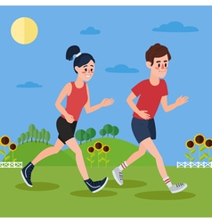 Man and woman running in the hills and sunflowers vector