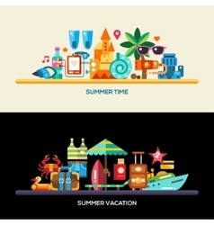 Flat design seaside travel vacation banners set vector