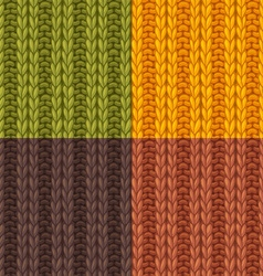 Set of double ribbing stitch patterns vector
