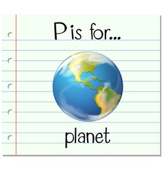 Flashcard letter p is for planet vector