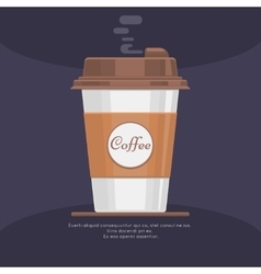 Disposable takeaway paper coffee cup in flat vector