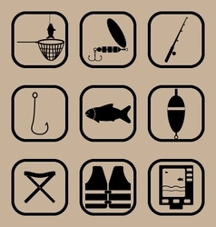 Fishing simple icons set vector