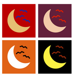 Assembly flat icons halloween moon bats vector