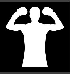 Boxer it is the white color icon vector