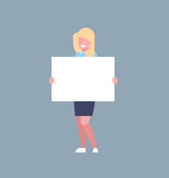 business woman hold white empty banner office vector image