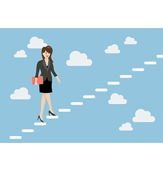 Business woman stepping up a staircase in the sky vector