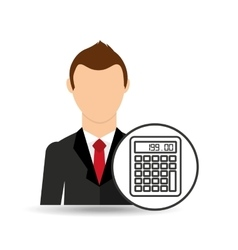 businessman character calculator graphic vector image vector image