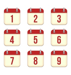 Calendar app icons 1 to 9 days vector