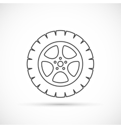 Car wheel outline icon vector