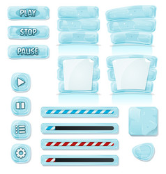 Cartoon ice and glass icons for ui game vector