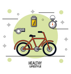 Colorful poster of healthy lifestyle with bicycle vector