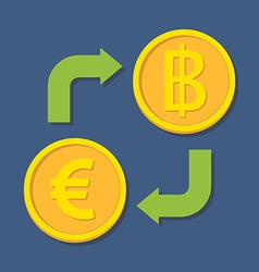 Currency exchange euro and baht vector