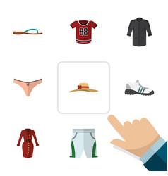 Flat icon clothes set of beach sandal uniform vector