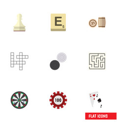 flat icon games set of lottery mahjong labyrinth vector image