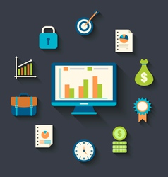 Flat icons concepts for business finance strategic vector
