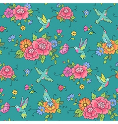 floral pattern colibri vector image vector image