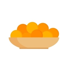 Fresh tangerines oranges on plate vector