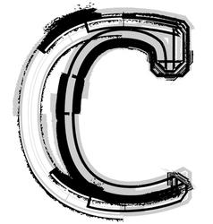 Grunge font letter c vector