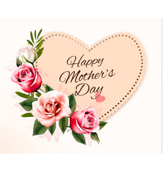 happy mothers day background with a heart-shaped vector image vector image