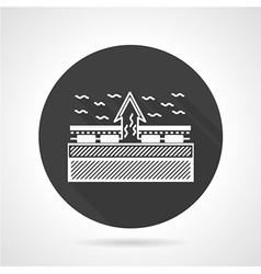 Heating scheme black round icon vector