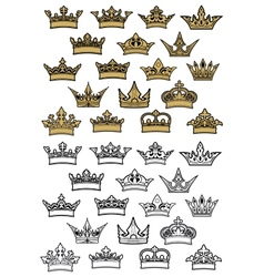 Imperial and royal crowns heraldic set vector