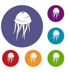Jellyfish icons set vector