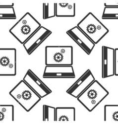 Laptop and gears icon seamless pattern on white vector image vector image