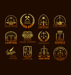 Legal center or lawyer juridical gold icons vector
