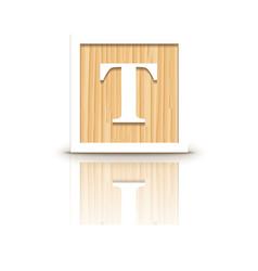 Letter t wooden alphabet block vector