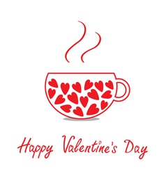 Love teacup with hearts happy valentines day vector