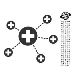 Medical relations icon with job bonus vector