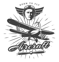 Monochrome vintage aircraft label vector
