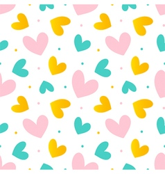 Pink mint green and gold hearts seamless pattern vector image vector image